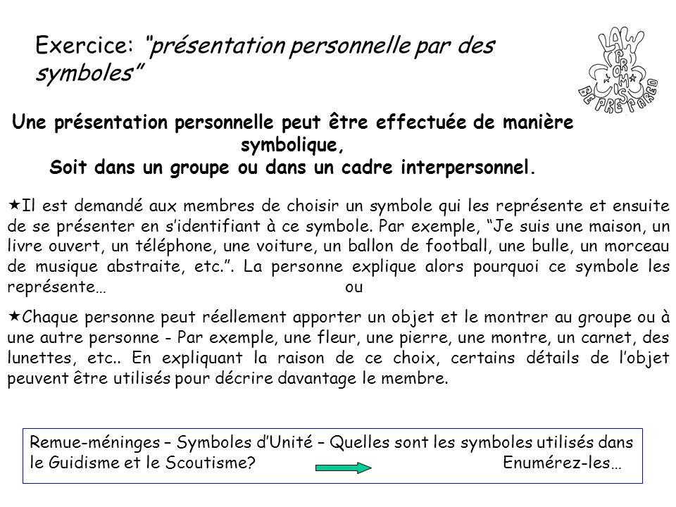 Exercice: présentation personnelle par des symboles Une présentation personnelle peut être effectuée de manière symbolique, Soit dans un groupe ou dan