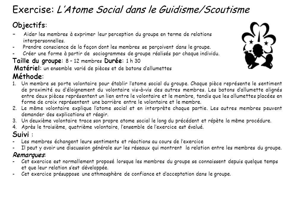 Exercise: LAtome Social dans le Guidisme/Scoutisme Objectifs: - Aider les membres à exprimer leur perception du groupe en terme de relations interpers