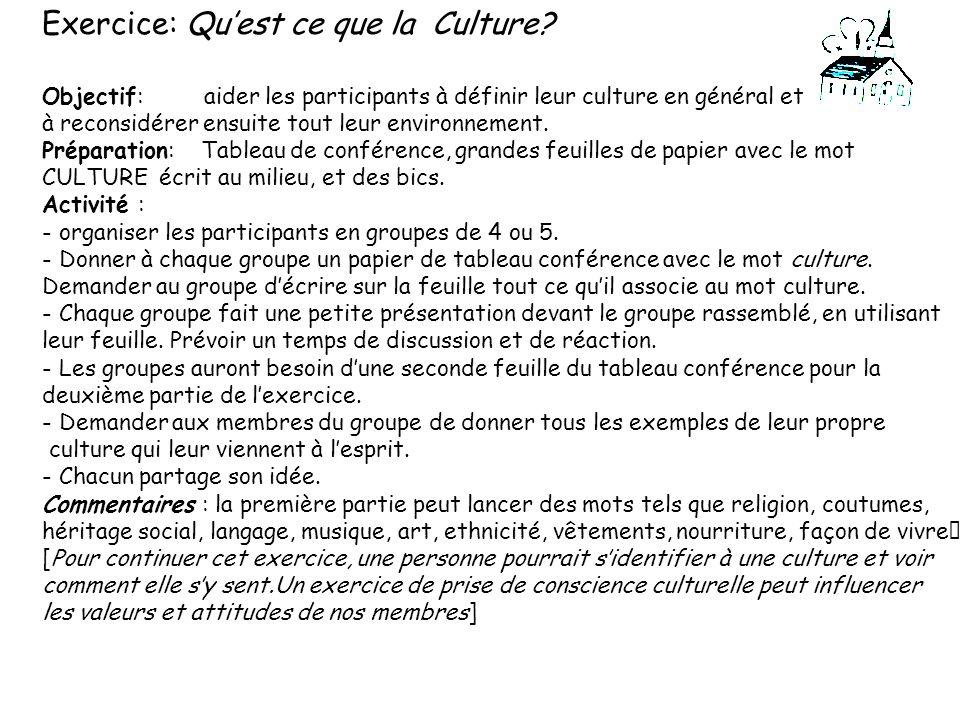 Exercice: Quest ce que la Culture? Objectif: aider les participants à définir leur culture en général et à reconsidérer ensuite tout leur environnemen