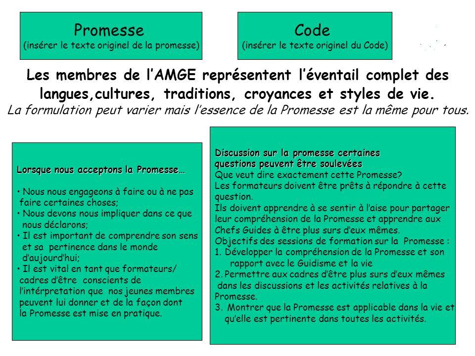 Promesse (insérer le texte originel de la promesse) Code (insérer le texte originel du Code) Les membres de lAMGE représentent léventail complet des l