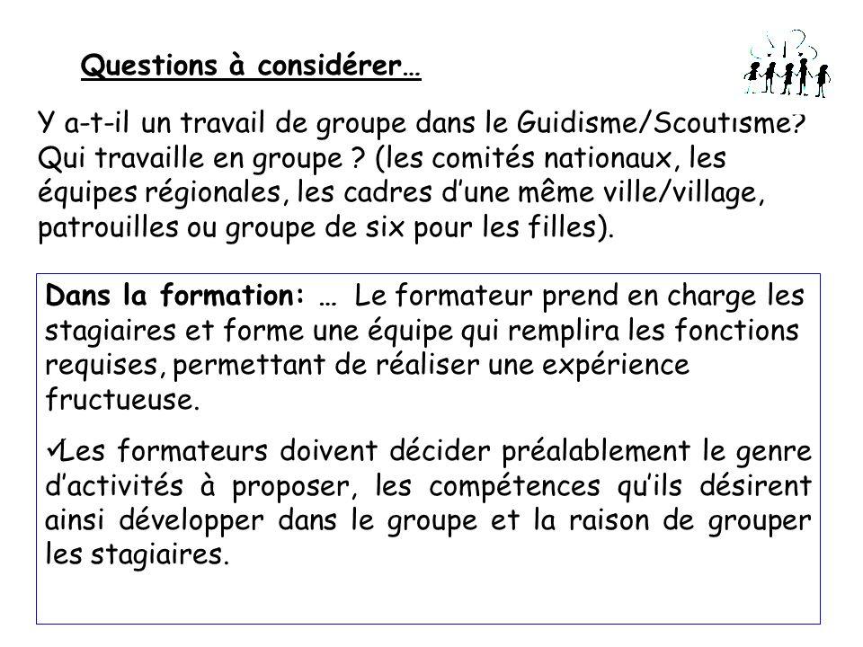 Questions à considérer… Y a-t-il un travail de groupe dans le Guidisme/Scoutisme? Qui travaille en groupe ? (les comités nationaux, les équipes région