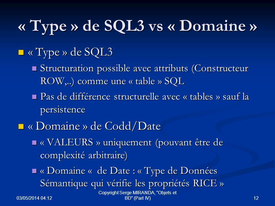 « Type » de SQL3 vs « Domaine » « Type » de SQL3 « Type » de SQL3 Structuration possible avec attributs (Constructeur ROW,..) comme une « table » SQL