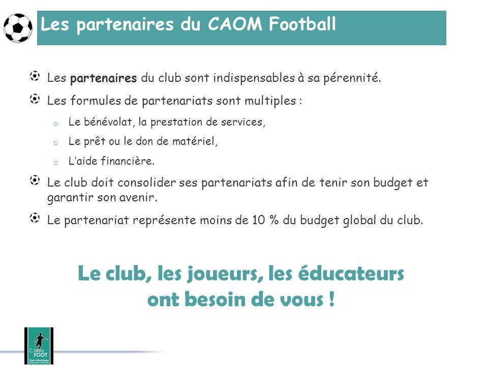Les partenaires du CAOM Football Les partenaires du club sont indispensables à sa pérennité. Les formules de partenariats sont multiples : o Le bénévo