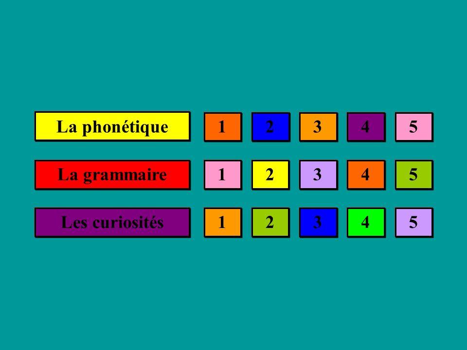 La phonétique La grammaire Les curiosités 21345 21345 21345