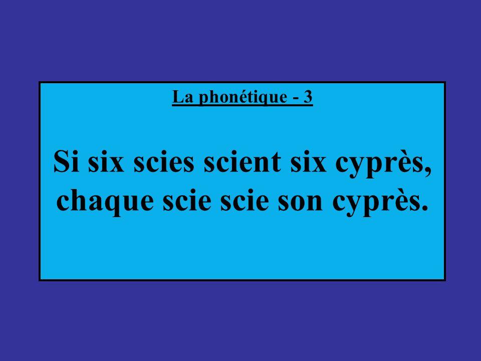 La phonétique - 3 Si six scies scient six cyprès, chaque scie scie son cyprès.