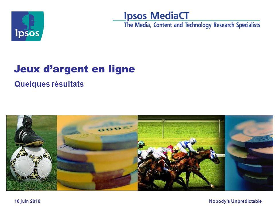 Nobodys Unpredictable 10 juin 2010 Quelques résultats Jeux dargent en ligne