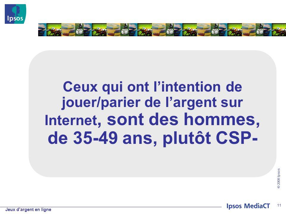 Jeux dargent en ligne © 2008 Ipsos 11 Ceux qui ont lintention de jouer/parier de largent sur Internet, sont des hommes, de 35-49 ans, plutôt CSP-