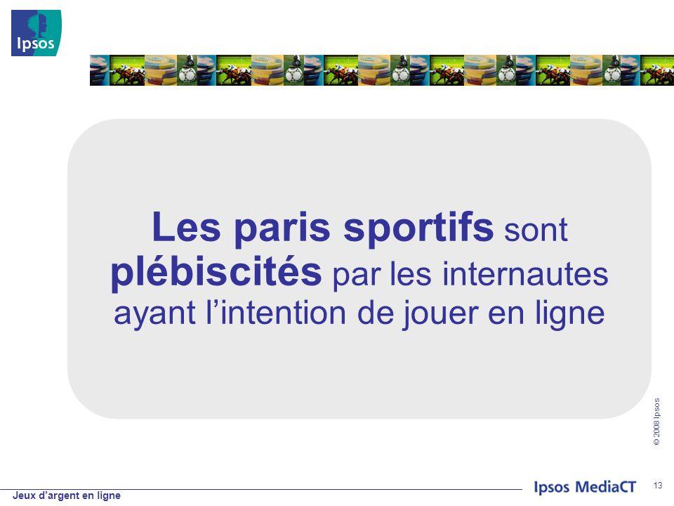 Jeux dargent en ligne © 2008 Ipsos 13 Les paris sportifs sont plébiscités par les internautes ayant lintention de jouer en ligne