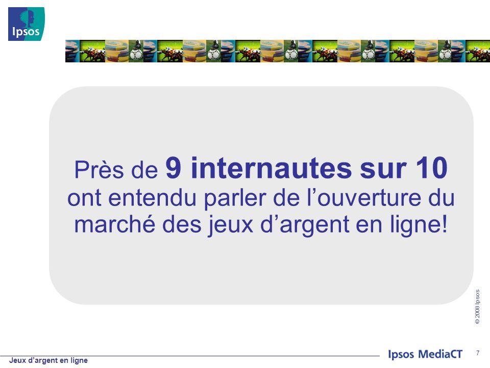 Jeux dargent en ligne © 2008 Ipsos 7 Près de 9 internautes sur 10 ont entendu parler de louverture du marché des jeux dargent en ligne!