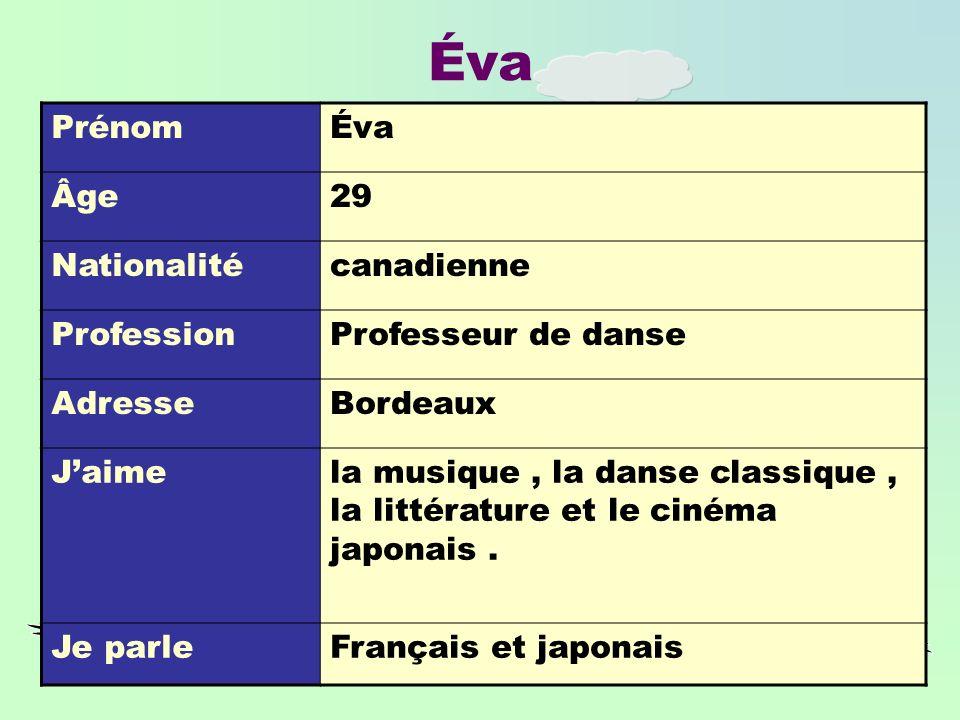 Éva PrénomÉva Âge29 Nationalitécanadienne ProfessionProfesseur de danse AdresseBordeaux Jaimela musique, la danse classique, la littérature et le cinéma japonais.