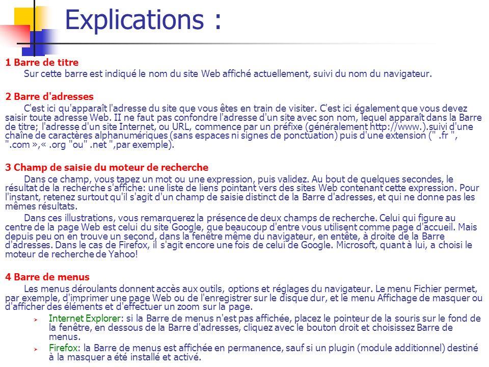 Explications : 1 Barre de titre Sur cette barre est indiqué le nom du site Web affiché actuellement, suivi du nom du navigateur. 2 Barre d'adresses C'