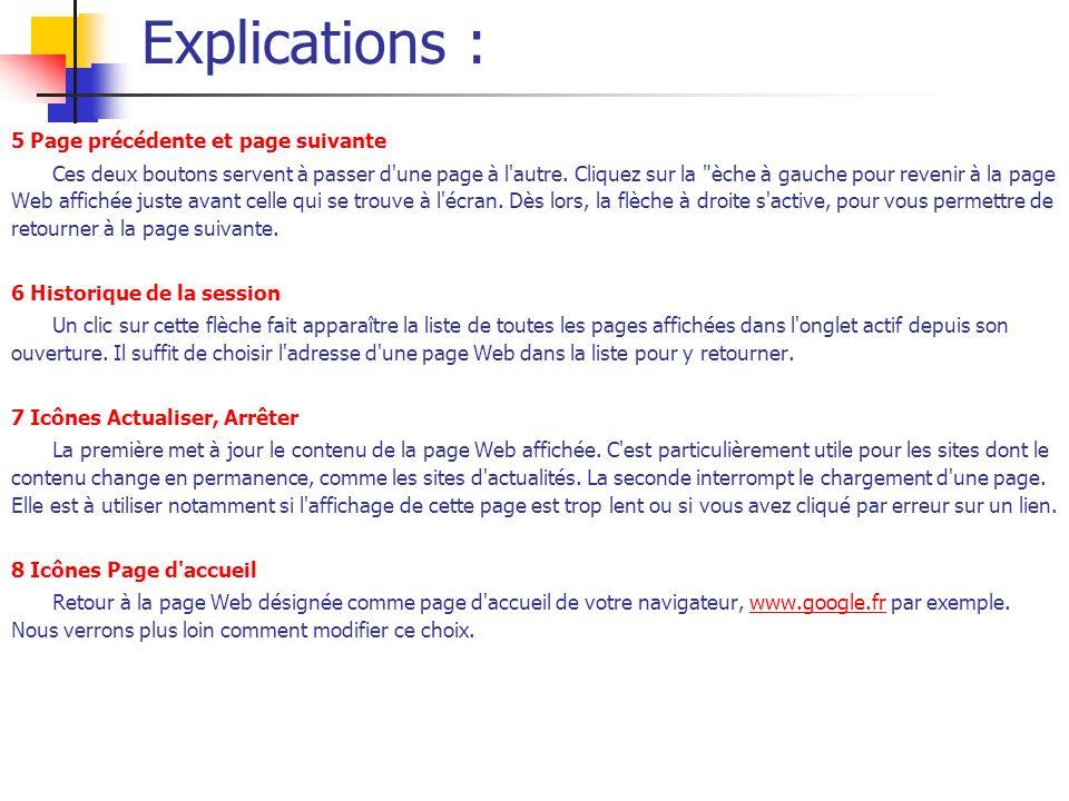Explications : 5 Page précédente et page suivante Ces deux boutons servent à passer d'une page à l'autre. Cliquez sur la