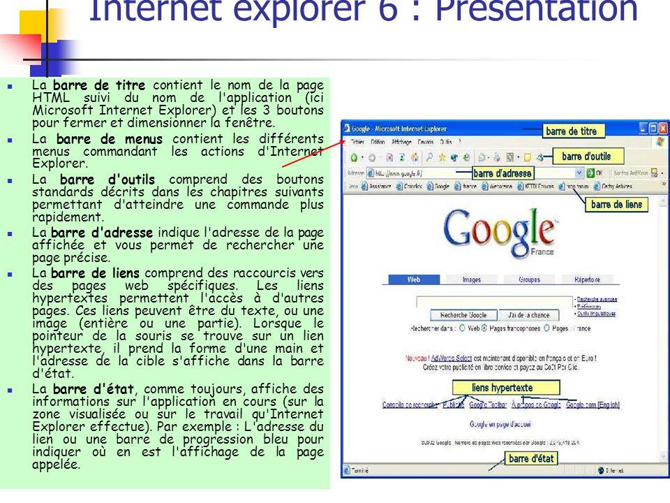 Internet explorer 6 : Présentation La barre de titre contient le nom de la page HTML suivi du nom de l'application (ici Microsoft Internet Explorer) e