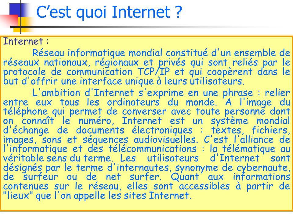 Internet : Réseau informatique mondial constitué d'un ensemble de réseaux nationaux, régionaux et privés qui sont reliés par le protocole de communica