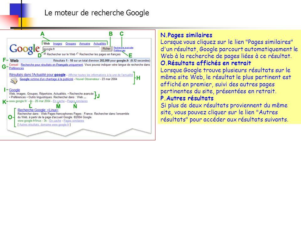 Le moteur de recherche Google N.Pages similaires Lorsque vous cliquez sur le lien