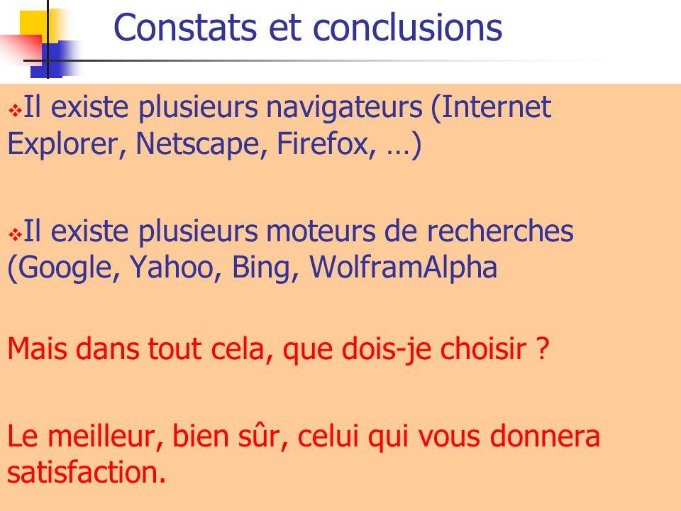 Constats et conclusions Il existe plusieurs navigateurs (Internet Explorer, Netscape, Firefox, …) Il existe plusieurs moteurs de recherches (Google, Y