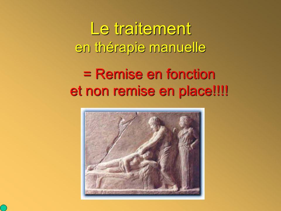 Le traitement en thérapie manuelle = Remise en fonction et non remise en place!!!!