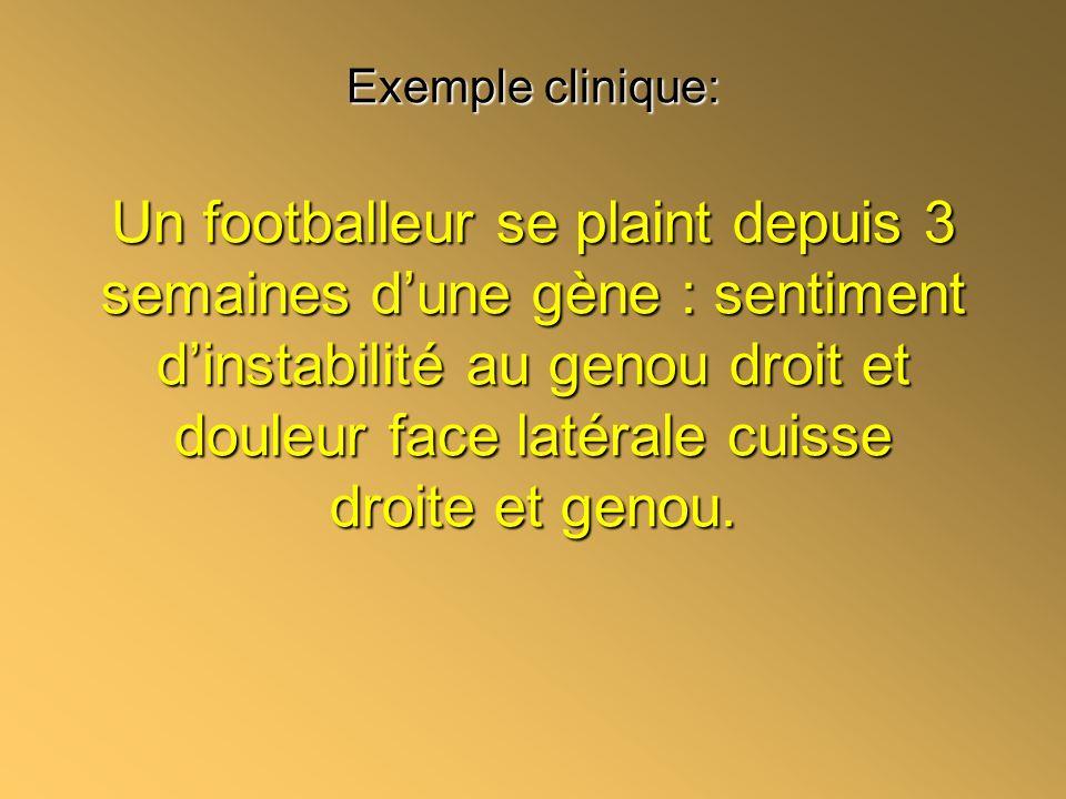 Exemple clinique: Un footballeur se plaint depuis 3 semaines dune gène : sentiment dinstabilité au genou droit et douleur face latérale cuisse droite