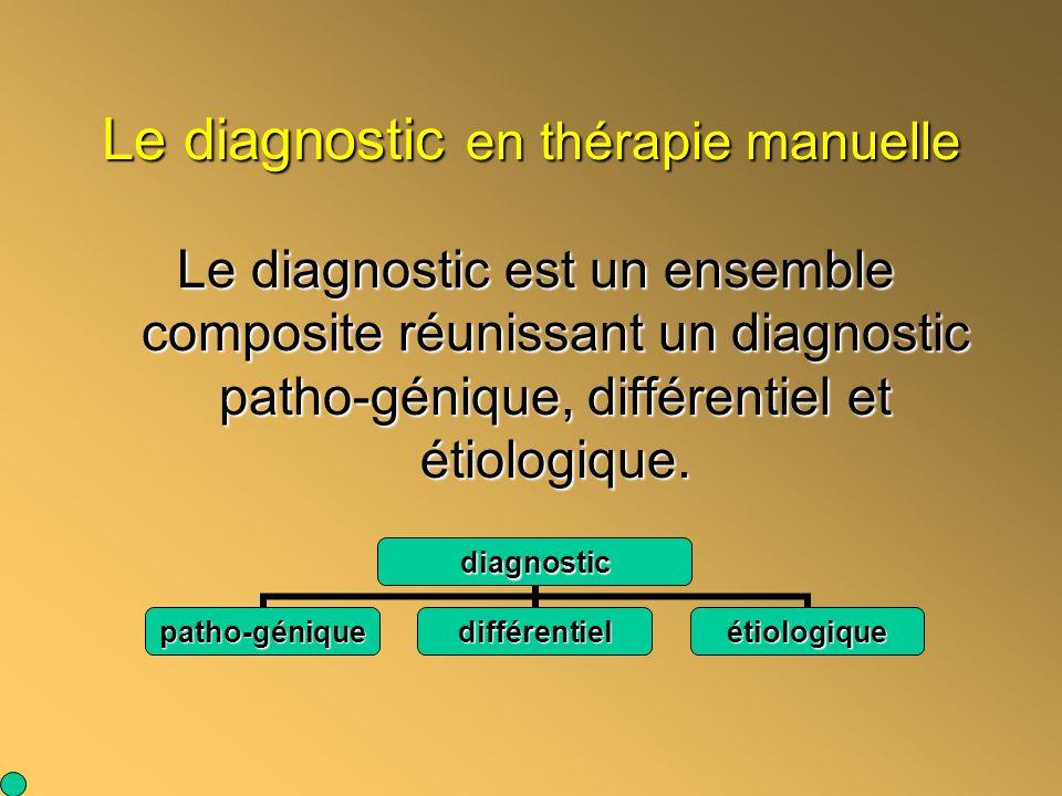 Le diagnostic en thérapie manuelle Le diagnostic est un ensemble composite réunissant un diagnostic patho-génique, différentiel et étiologique. diagno