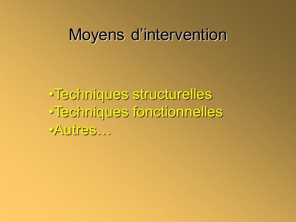 Moyens dintervention Techniques structurellesTechniques structurelles Techniques fonctionnellesTechniques fonctionnelles Autres…Autres…
