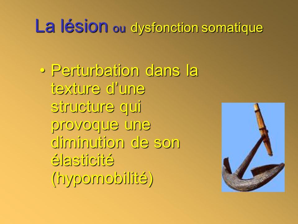 La lésion ou dysfonction somatique Perturbation dans la texture dune structure qui provoque une diminution de son élasticité (hypomobilité)Perturbatio