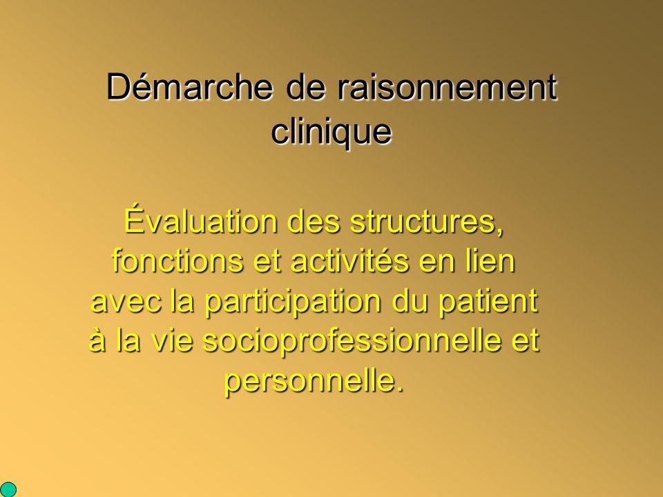 Démarche de raisonnement clinique Évaluation des structures, fonctions et activités en lien avec la participation du patient à la vie socioprofessionn
