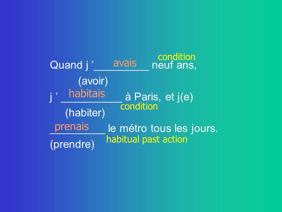 Quand j _________ neuf ans, (avoir) j __________ à Paris, et j(e) (habiter) _________ le métro tous les jours.