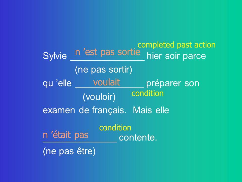 Sylvie ______________ hier soir parce (ne pas sortir) qu elle _____________ préparer son (vouloir) examen de français. Mais elle ______________ conten
