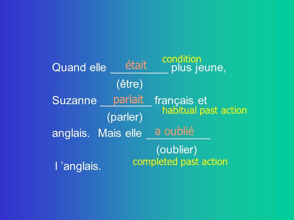 Quand elle _________ plus jeune, (être) Suzanne ________ français et (parler) anglais. Mais elle __________ (oublier) l anglais. était a oublié parlai