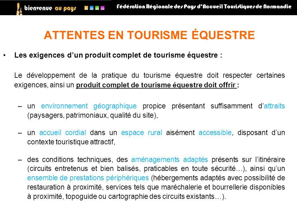 Les exigences dun produit complet de tourisme équestre : Le développement de la pratique du tourisme équestre doit respecter certaines exigences, ains
