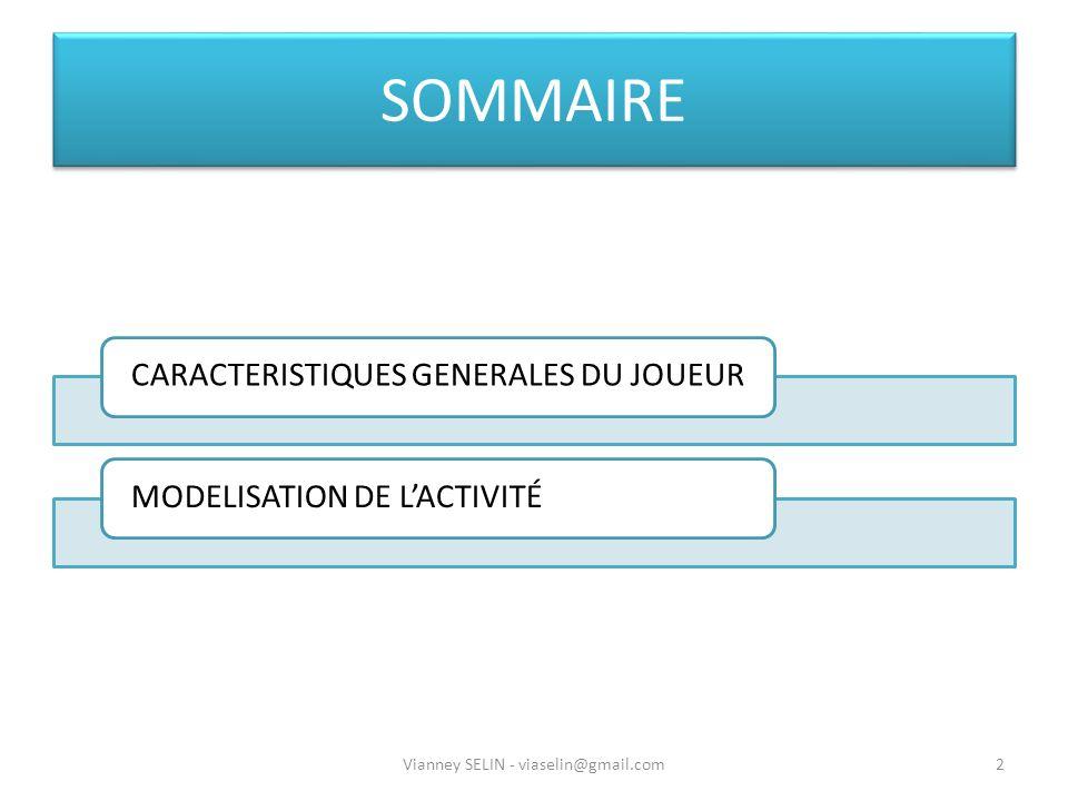 SOMMAIRE CARACTERISTIQUES GENERALES DU JOUEURMODELISATION DE LACTIVITÉ 2Vianney SELIN - viaselin@gmail.com