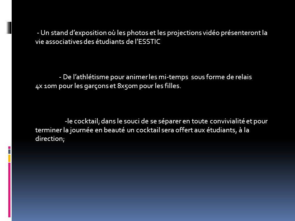 - Un stand dexposition où les photos et les projections vidéo présenteront la vie associatives des étudiants de lESSTIC - De lathlétisme pour animer l