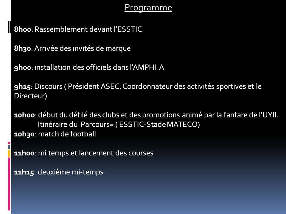 11h45: fin du match et intermède (danses traditionnelles) 12h00: match de handball 13h00: cocktail & fin