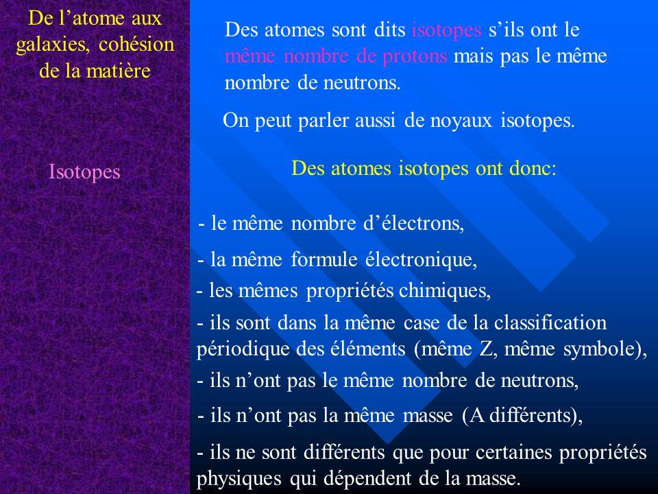 De latome aux galaxies, cohésion de la matière Exemples disotopes dun même élément chimique: Certains atomes ou noyaux sont instables.