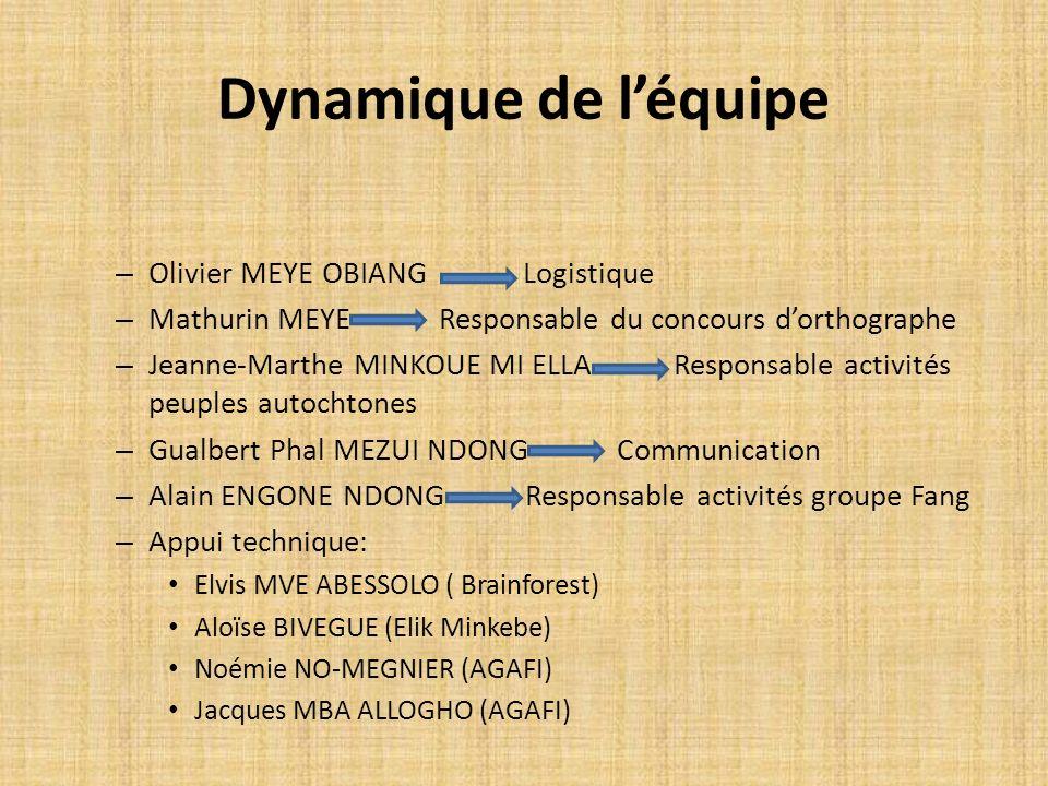 Dynamique de léquipe – Olivier MEYE OBIANG Logistique – Mathurin MEYE Responsable du concours dorthographe – Jeanne-Marthe MINKOUE MI ELLA Responsable