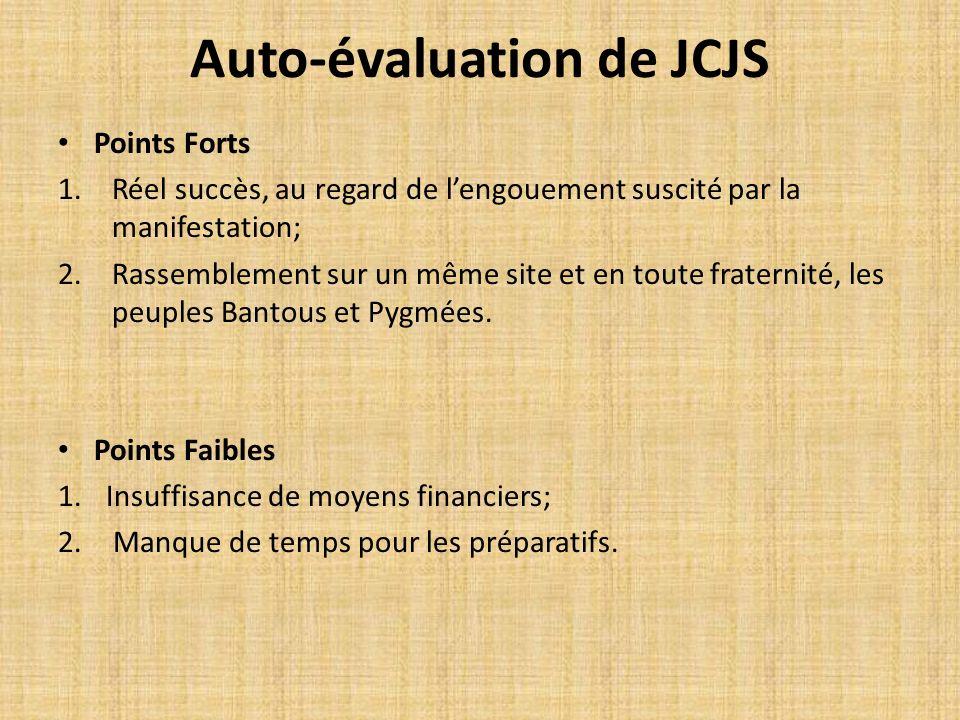 Auto-évaluation de JCJS Points Forts 1.Réel succès, au regard de lengouement suscité par la manifestation; 2.Rassemblement sur un même site et en tout
