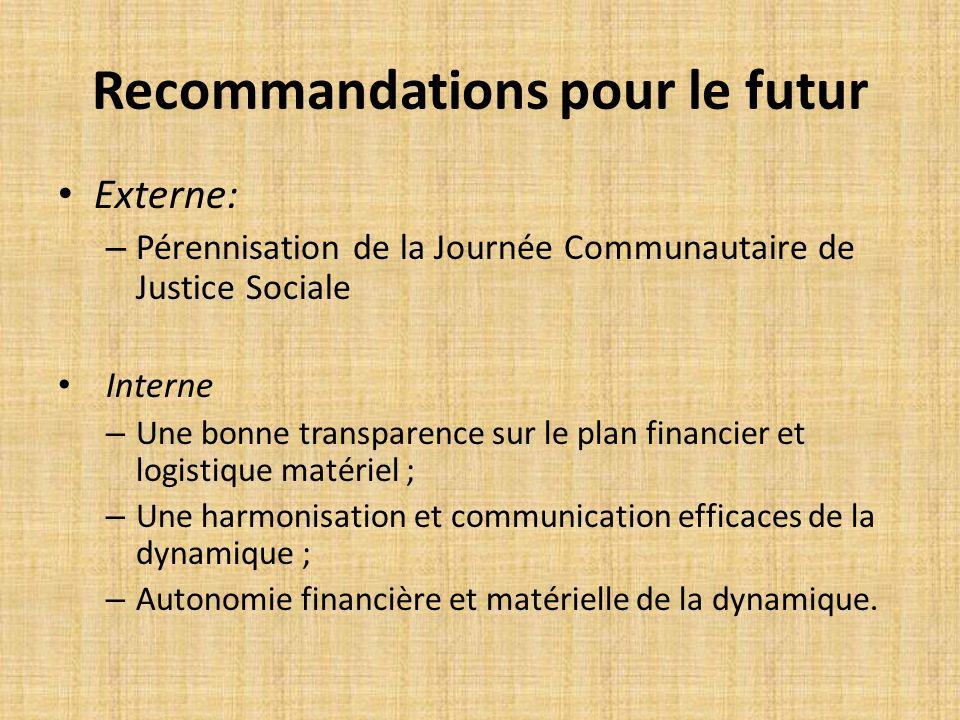 Recommandations pour le futur Externe: – Pérennisation de la Journée Communautaire de Justice Sociale Interne – Une bonne transparence sur le plan fin
