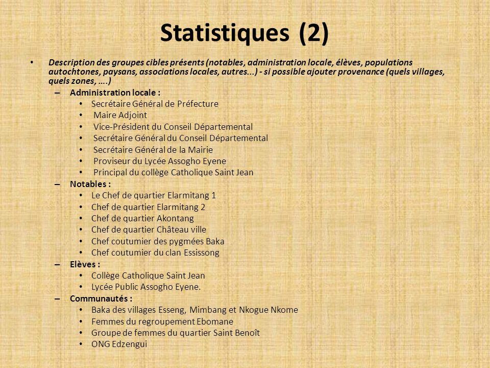Statistiques (2) Description des groupes cibles présents (notables, administration locale, élèves, populations autochtones, paysans, associations loca