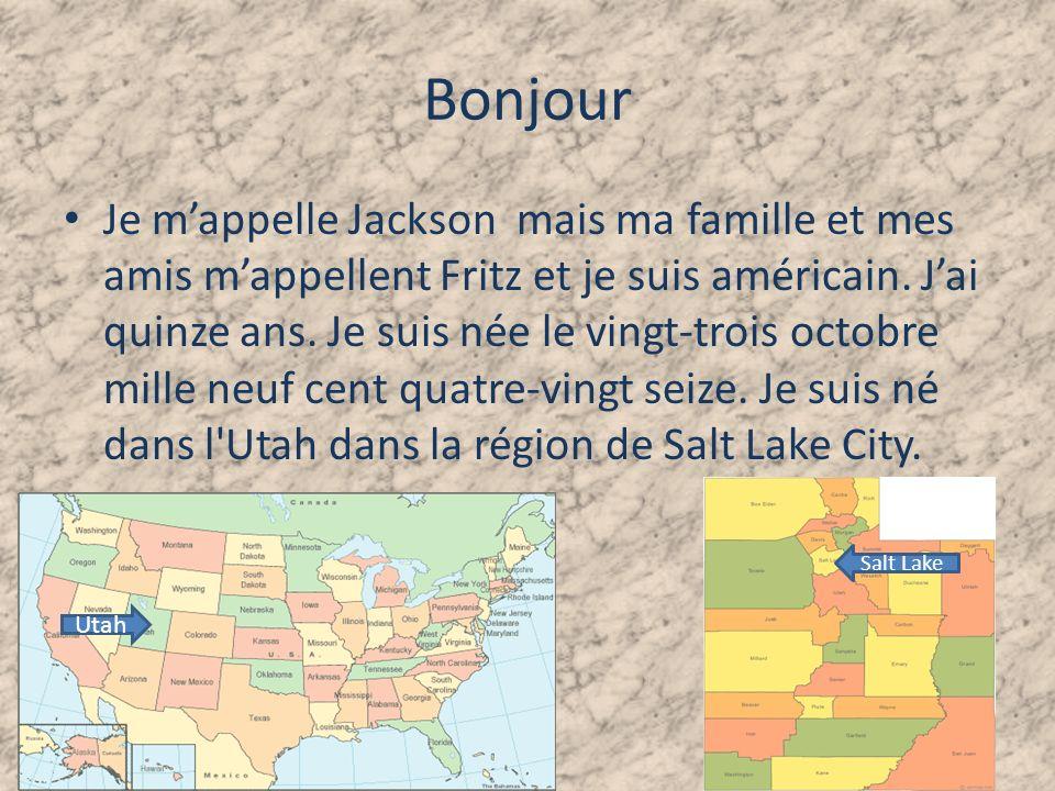 Bonjour Je mappelle Jackson mais ma famille et mes amis mappellent Fritz et je suis américain.