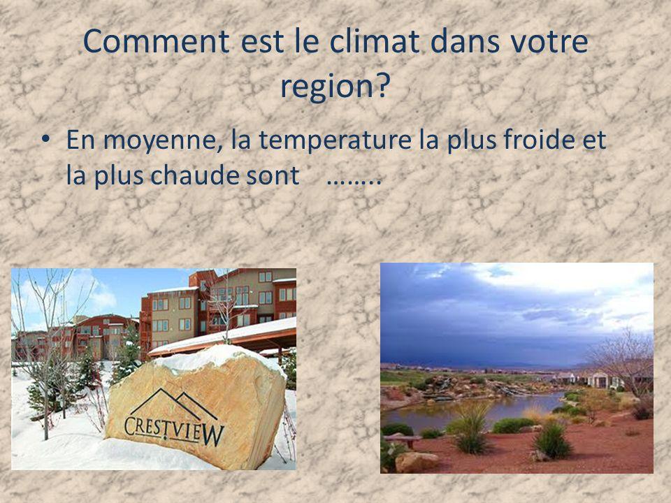 Comment est le climat dans votre region.