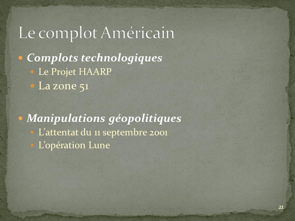 Complots technologiques Le Projet HAARP La zone 51 Manipulations géopolitiques Lattentat du 11 septembre 2001 Lopération Lune 21