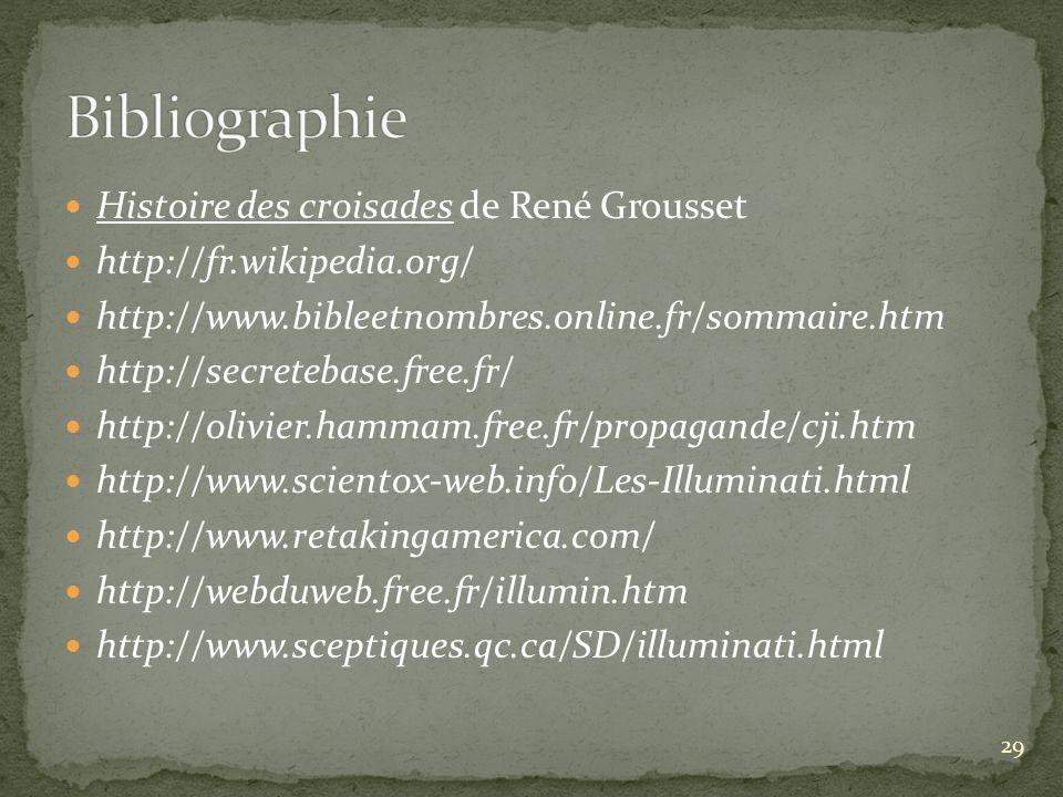 Histoire des croisades de René Grousset http://fr.wikipedia.org/ http://www.bibleetnombres.online.fr/sommaire.htm http://secretebase.free.fr/ http://o