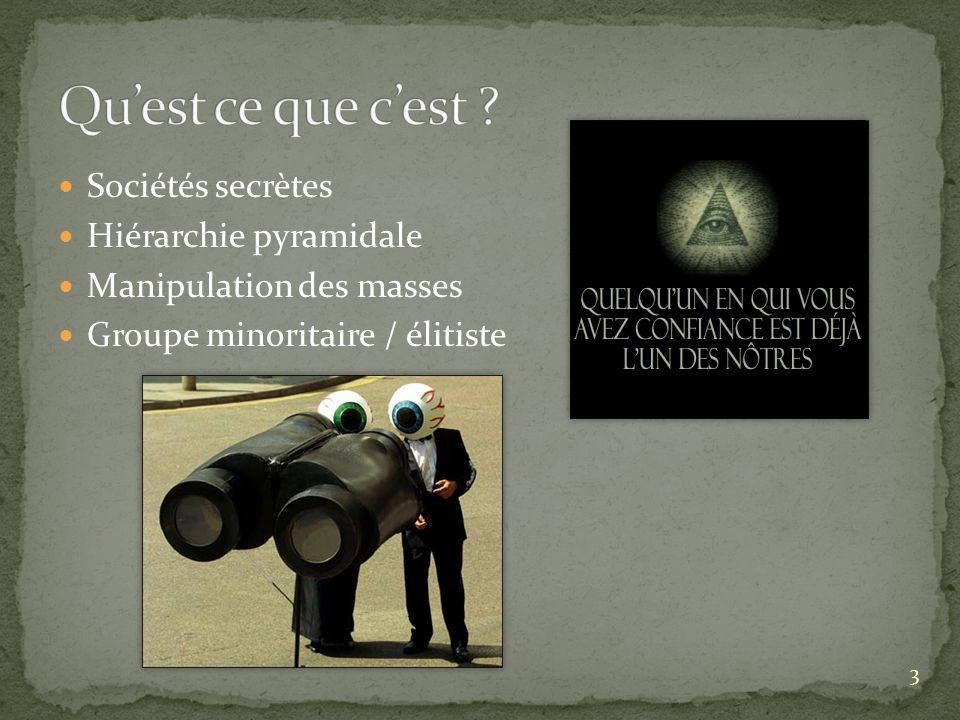 Sociétés secrètes Hiérarchie pyramidale Manipulation des masses Groupe minoritaire / élitiste 3
