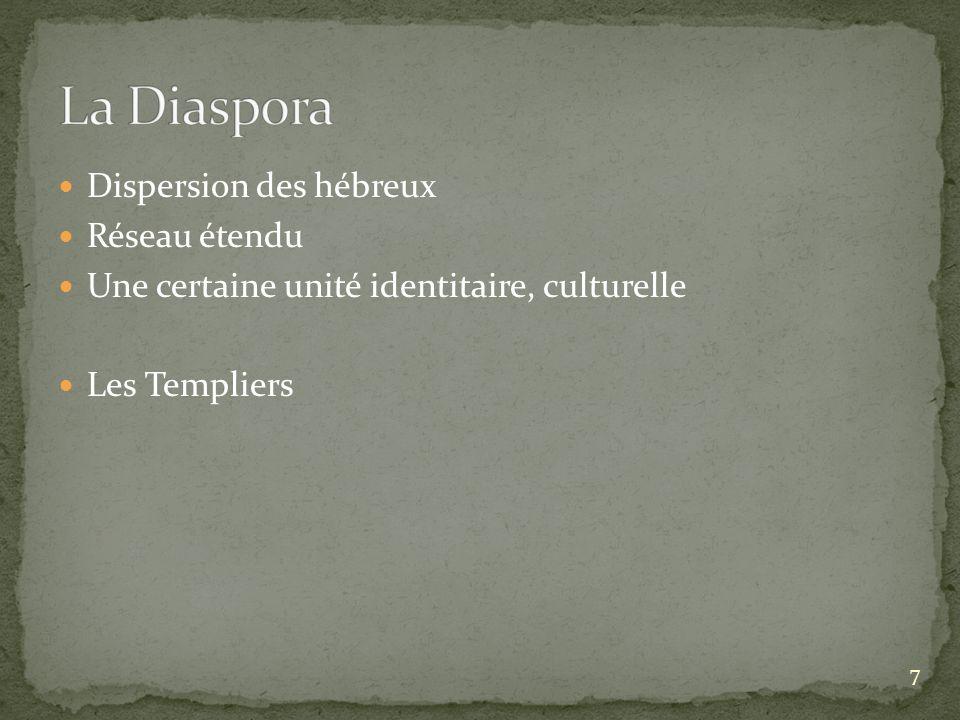 Dispersion des hébreux Réseau étendu Une certaine unité identitaire, culturelle Les Templiers 7