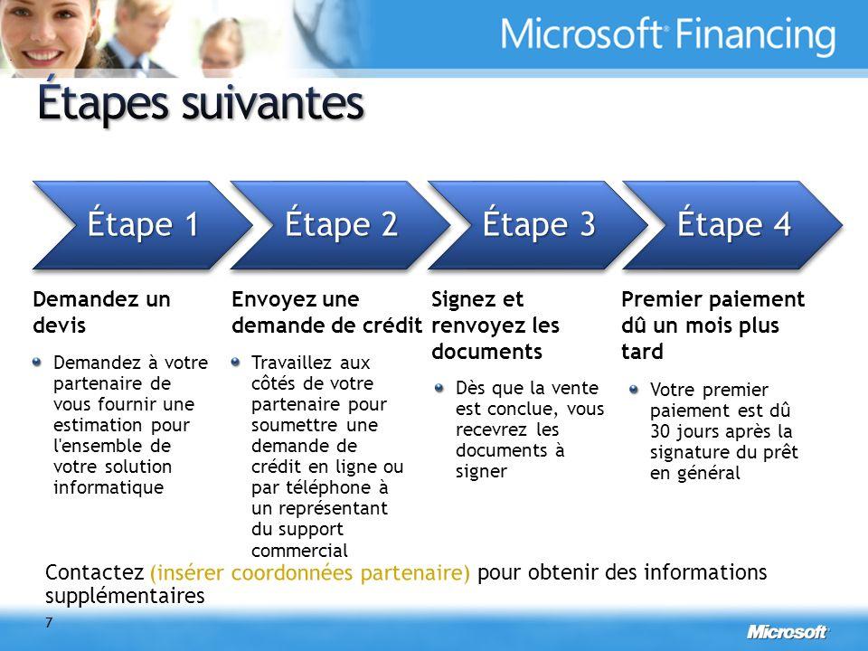 Informations complémentaires www.microsoft.com/france/licences/financement +33 (0) 825 827 829 MSFinFR@microsoft.com