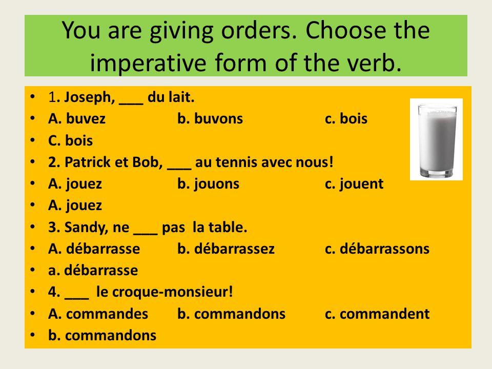 You are giving orders. Choose the imperative form of the verb. 1. Joseph, ___ du lait. A. buvezb. buvons c. bois C. bois 2. Patrick et Bob, ___ au ten