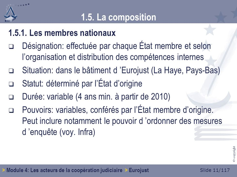 Slide 11/117 © copyright 1.5. La composition 1.5.1.
