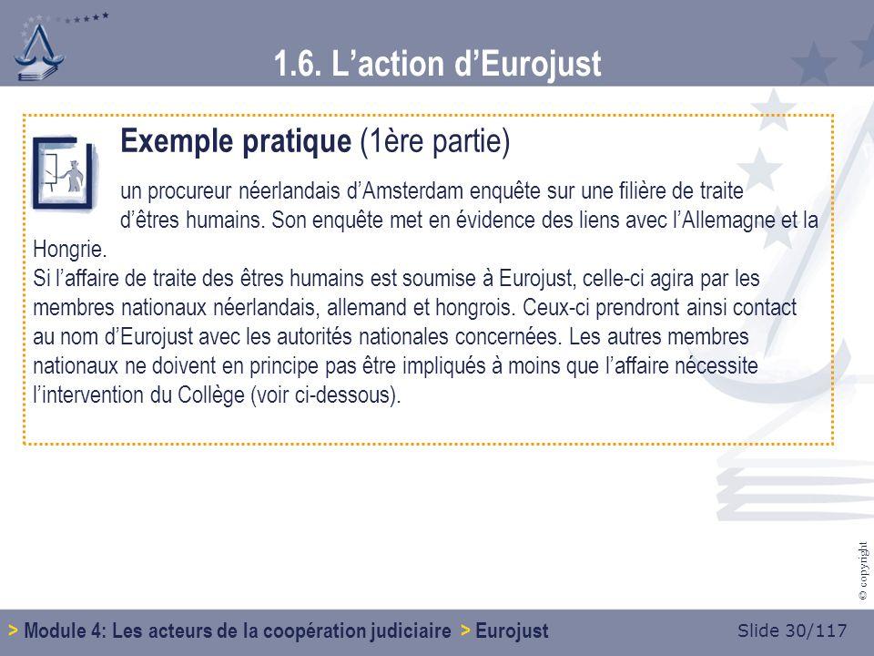 Slide 30/117 © copyright Exemple pratique (1ère partie) un procureur néerlandais dAmsterdam enquête sur une filière de traite dêtres humains.