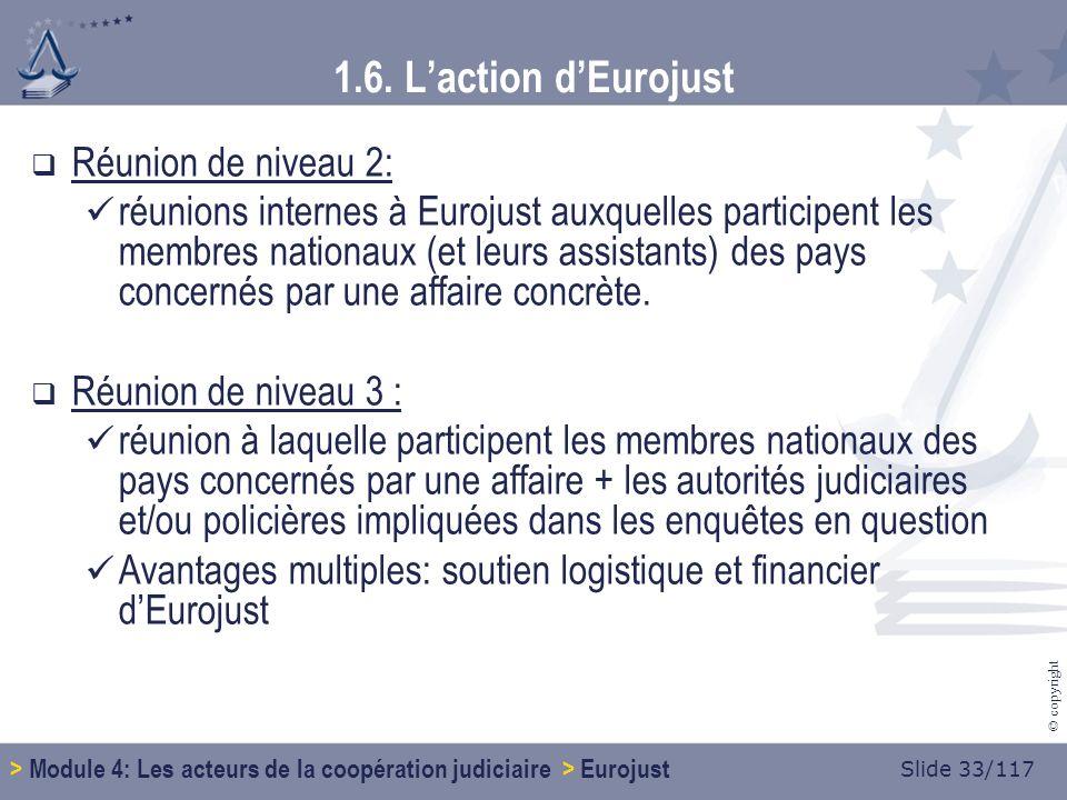 Slide 33/117 © copyright Réunion de niveau 2: réunions internes à Eurojust auxquelles participent les membres nationaux (et leurs assistants) des pays concernés par une affaire concrète.