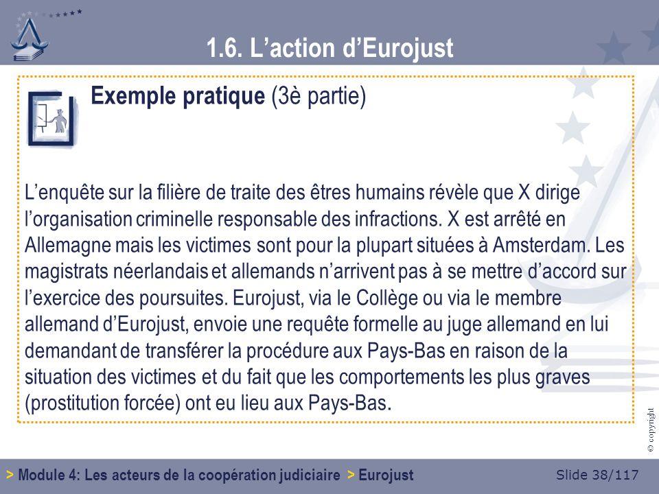 Slide 38/117 © copyright Exemple pratique (3è partie) Lenquête sur la filière de traite des êtres humains révèle que X dirige lorganisation criminelle responsable des infractions.